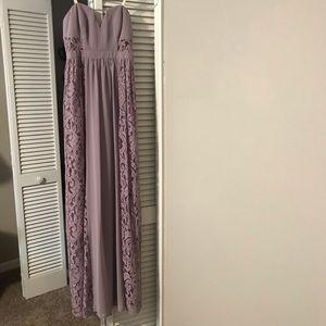 BCBG violet lace strapless maxi dress.